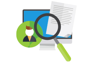 Icon that shows magnifying glass, paper, person, and montior
